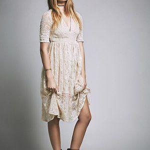 Free People Ivory Mountain Laurel Embroidered Lace Boho Midi Dress 4